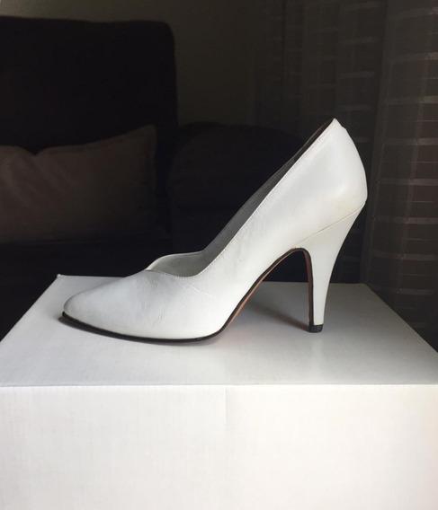 Sapato Alto Branco- Noiva-couro Feito A Mão