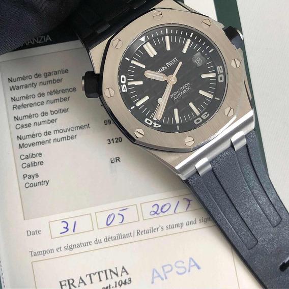 Audemars Piguet Royal Oak Offshore Diver 42 Mm Mostrador Preto Fundo Safira I Relógio Masculino Original