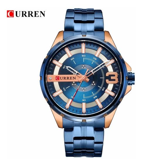 Relogio Masculino Curren Modelo M8333 Aço Inoxidavel Azul C/ Rose Gold Movimento Quartzo Caixa 50mm Com Frete Gratis