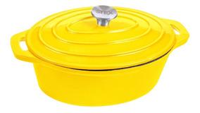 Panela Oval Ferro Fundido Amarela Com Defeito