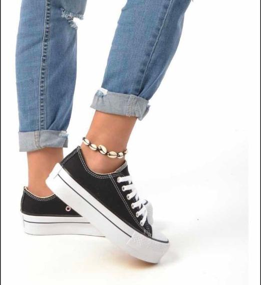 zapatillas negras de mujer tipo converse