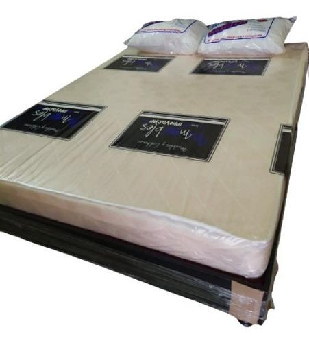 Envío Gratis Combo 1.40x1.90 Base+colchón Y Set Almohadas