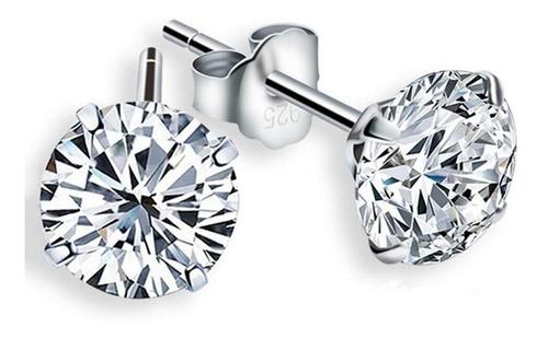 Imagem 1 de 6 de Brinco Masculino Prata Pura 925 Pedra Diamante Sintético