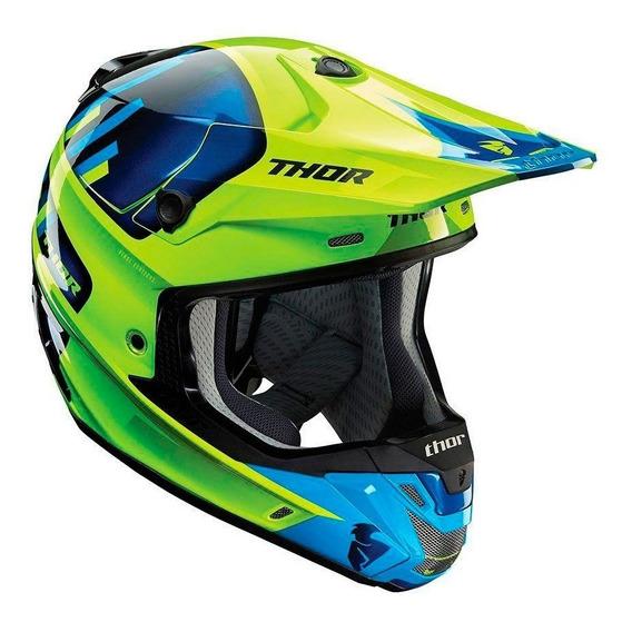 Capacete Motocross Trilha Thor Verge Vort Verde E Azul