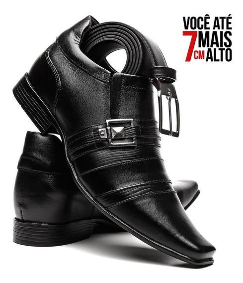 Sapato Social Masculino Em Couro Legitimo Aumenta Altura 7cm