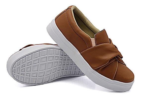 Slip On Plataforma Tenis Casual Feminino Dk Shoes Modelo Nó