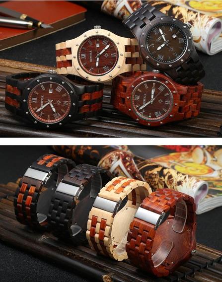 Relógio Bewell Ebony Wooden Mecanico
