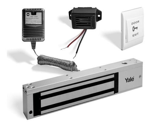 Imagen 1 de 5 de Kit Electroimán 600lb Exteriores +botón+buzzer+transformador
