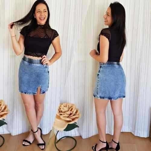 Saia Jeans Hot Pants Curta Cintura Alta Roupas Da Moda