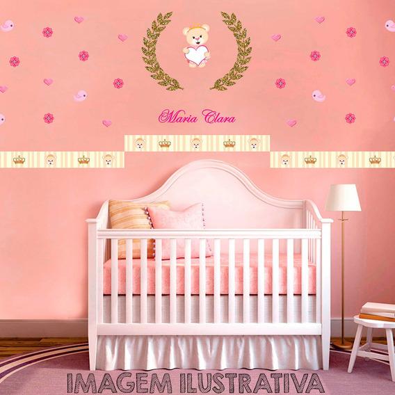 Painel De Quarto Ursinha Princesa Parede Infantil Mdf Vinil