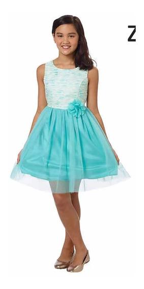 Vestido Para Ninas Zunie Color Aqua Talla 12 Años