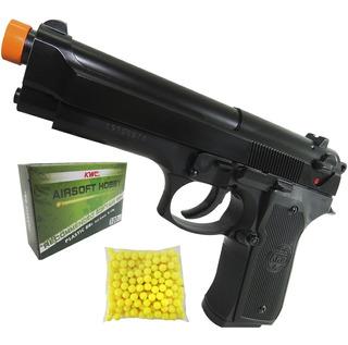 Pistola Airsoft Kwc Beretta M92 Spring Mola 230 Fps Com Trava De Segurança Atira Esfera Bbs 6mm