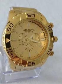 Relógio Masculino Aço Dourado Atlantis Original G3243