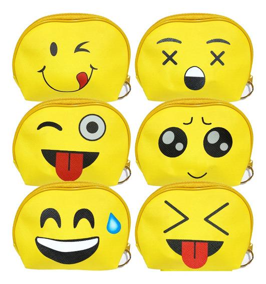 12 Porta Moeda Estampado Emoji Emoticons Notas Com Zíper