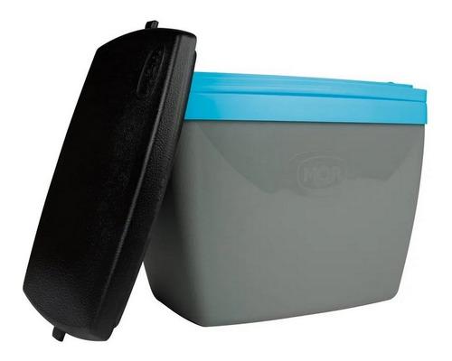 Caixa Térmica Pequena 6l Para Camping Cinza Com Azul Mor