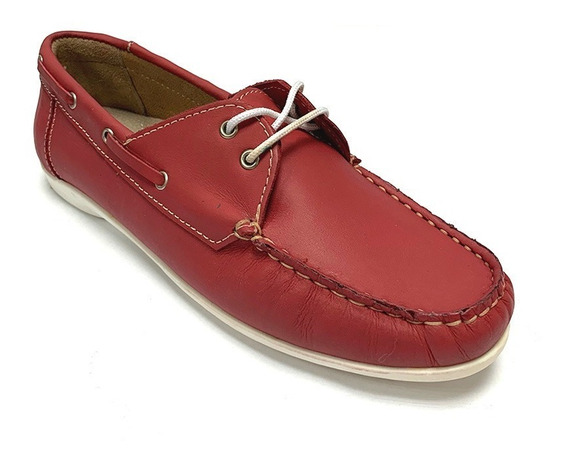 Zapatos Nauticos Full Time Dama Rojo Ft 4415 Corpez 35