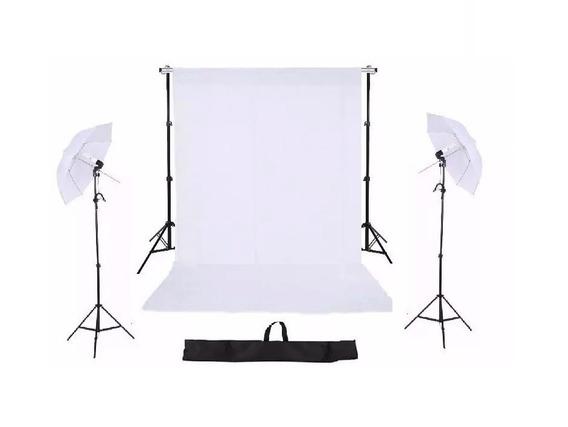 Kit Suporte Fundo 2m X 3m+kit Iluminação+ Tecido +bag
