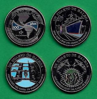 Grr-set 4 Monedas Esmaltadas Panamá 1/4 De Balboa 2016