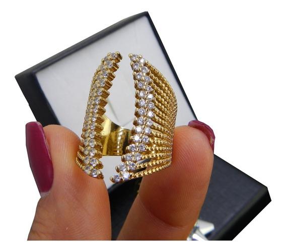 Anillo Dorado Nice Ajustable Cristales Baño Oro 18k Regalo