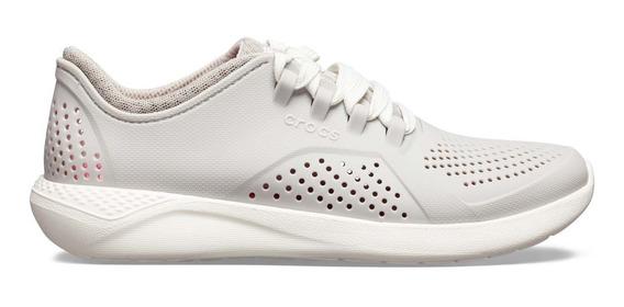Tenis Crocs Dama Pacer Gris Claro/blanco