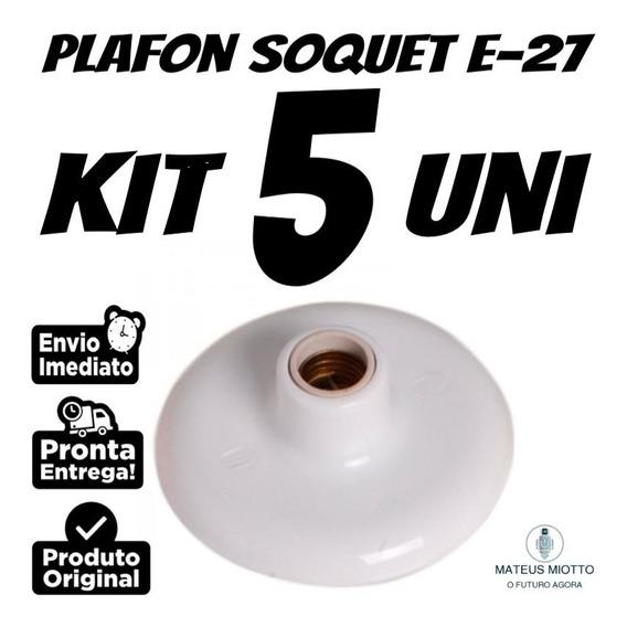 Kit 5 Uni Plafon Branco Lâmpada 100 Watts Bocal De Porcelana