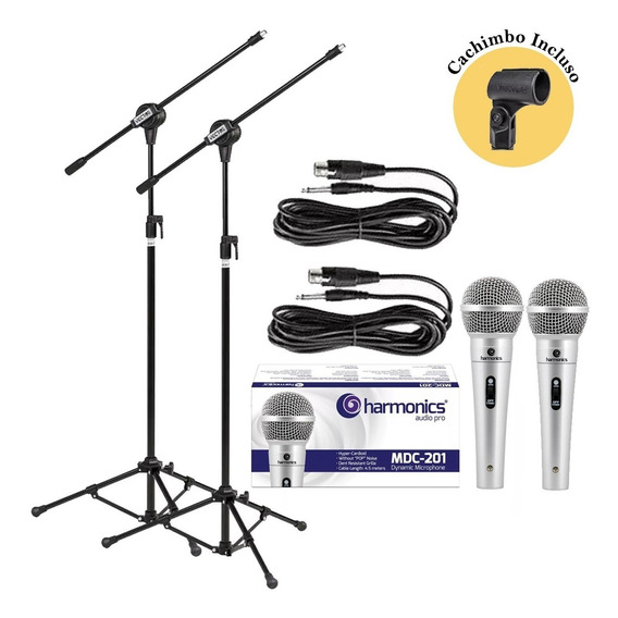 Kit Pedestais+ Microfones Mdc201 Harmonics+cachimbos