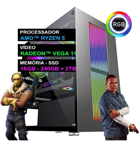 Pc Gamer Computador Completo Ryzen 5 16gb Ddr4 Ssd + Hd 2tb
