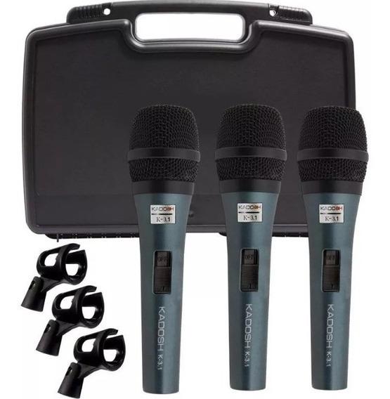 Microfone Kadosh K3.1 Profissional Kit Com 3 Pç Com Caximbo