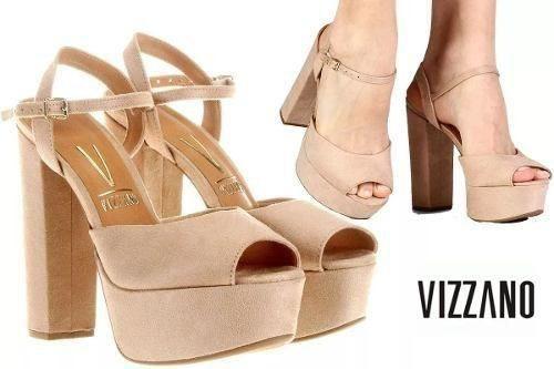 Sandália Sapato Feminino Vizzano Meia Pata 4 Cm, Salto Alto 14 Cm Acabamento Em Camurça Solado Emborrachado Confortável