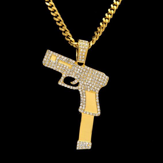 Colar Pistola Ouro Com Brilhantes Grande