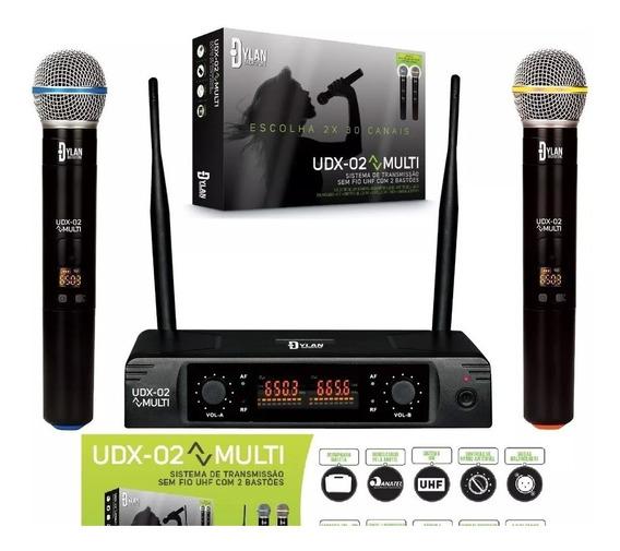 Microfone Sem Fio Duplo Uhf Display Digital 30 Canais Udx 02