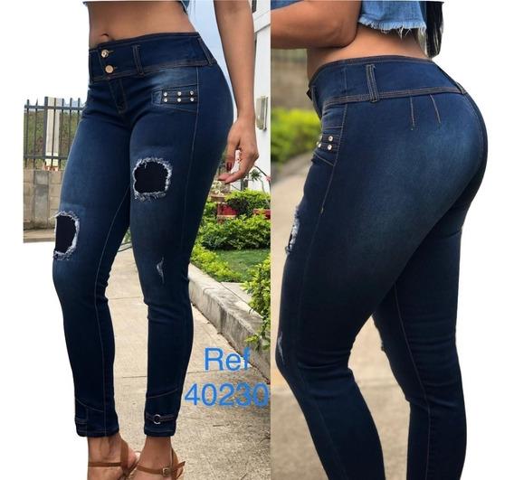 Jeans Pantalon De Dama Studio Strechs Rotos Altos,