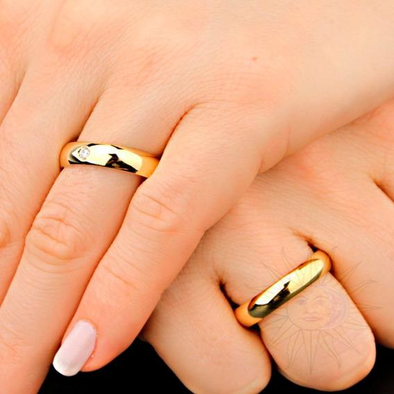 Aliança Anel Folheado Ouro 18k Aço Inox Noivado Zirconia 2mm