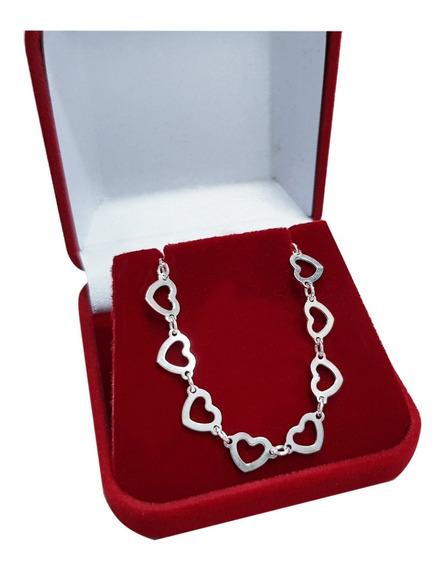 Colar Feminino Elos Coração Namorado Prata Legítima 925
