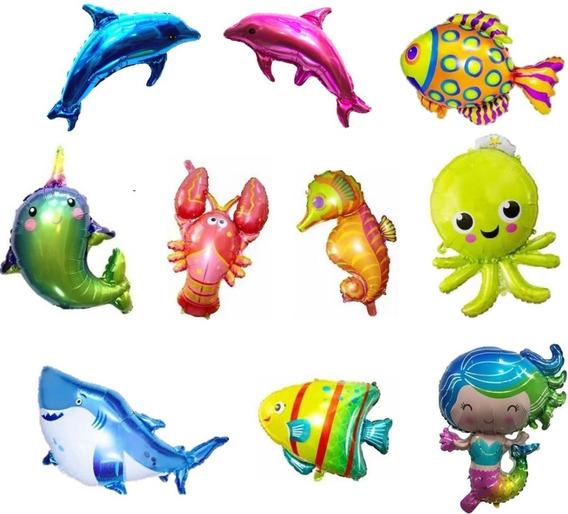 Globo Metalizado Animalitos De Mar 40cm X 10 Unidades