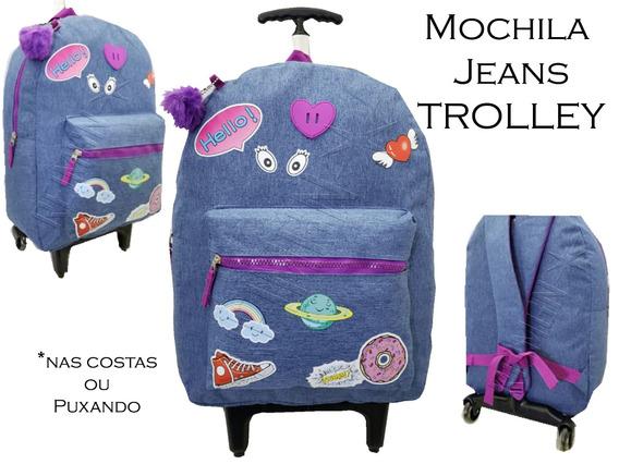 Mochila Jeans Rodinha Olhinho Planeta All Star +pom Mc-01853