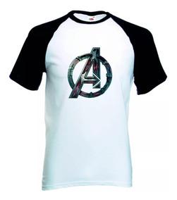 Camisa Camiseta Vingadores Raglan Manga Curta Marvel