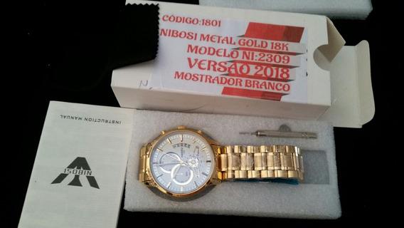 Kit 03 Relógio Nibosi Original 18k Fd: Branco