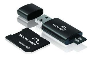 Adaptador 3 Em 1 Sd + Pendrive +cartão De Memória Classe 10 64gb Preto Multilaser - Mc115