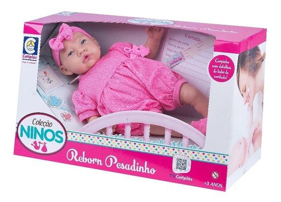 Boneca Ninos Bebê Menina C/ Chupeta Baby Cotiplás 44cm