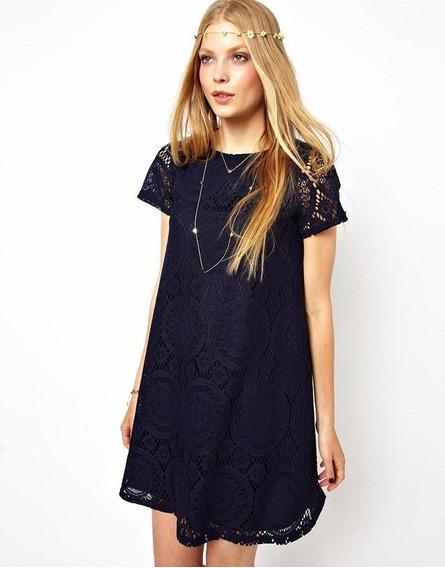 Bonito Vestido Moda Asiatica Marino Talla Xxl