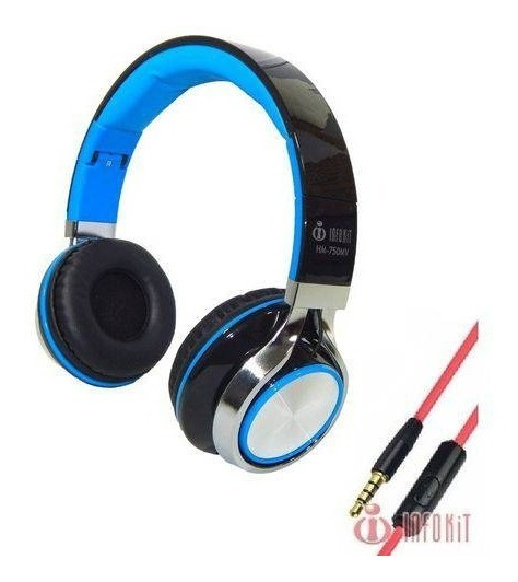Fone Ouvido Headset Microfone P2 Estéreo Cor Azul