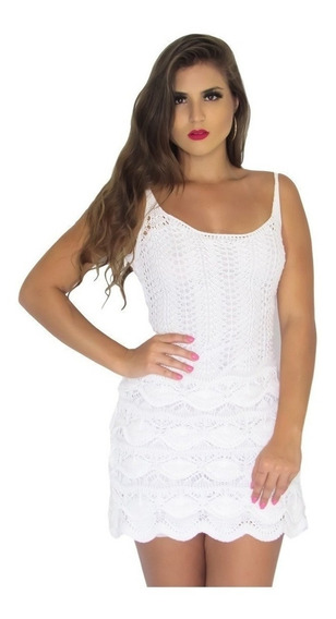 Vestido Curto Renda Crochê Tricot Trico Moda Blogueiras 2017