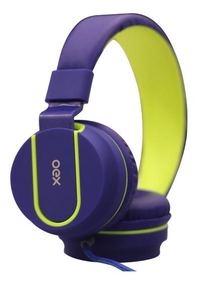 Fone De Ouvido Headset C/microfone Hs107 Fluor Oex Teen Azul