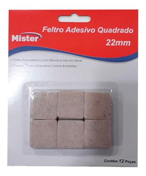 Feltro Adesivo Pé De Cadeiras Quadrado Mister 22mm C/12 Pç