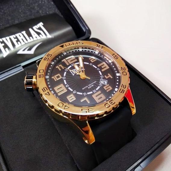 Relógio Masculino Analógico Everlast Preto/dourado