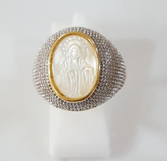 Anel Folheado A Ouro 18k ,madri Pérola Santa Milagrosa.