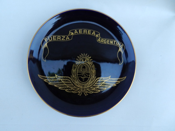 Antiguo Plato Cobalto Oro Tsuji Fuerza Aerea Argentina 2 Aps