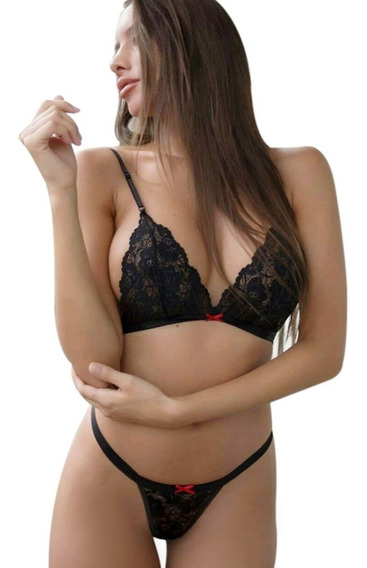 Conjunto Corpiño Tanga Encaje Sexy Lenceria Femenina Erotica