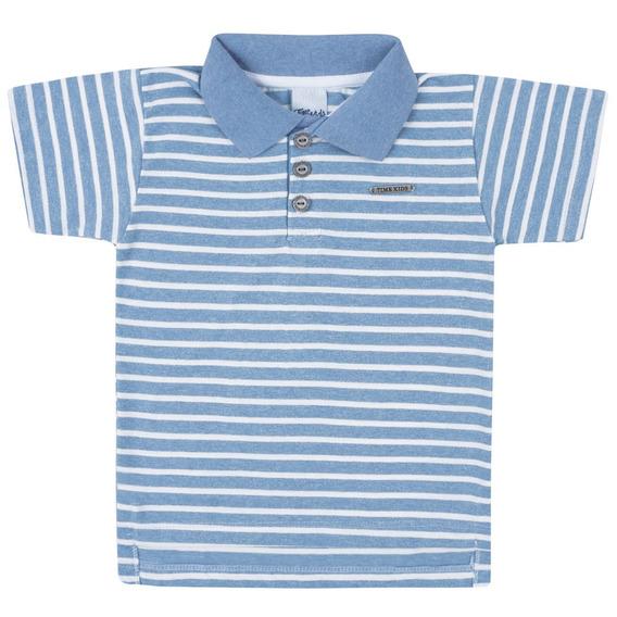 Camisa Polo - Malha Listrada - Azul - Livy Malhas